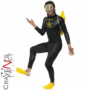 Mens Muff Diving Scuba Diver Fancy Dress Costume Diver Stag Do Outfit New