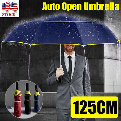 Auto Open Folding Umbrellas Oversize Large Rain Men Women Tr