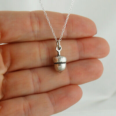 Tiny Acorn Charm Necklace 925 Sterling Silver Oak Tree Nut Squirrel Ice Age Gift