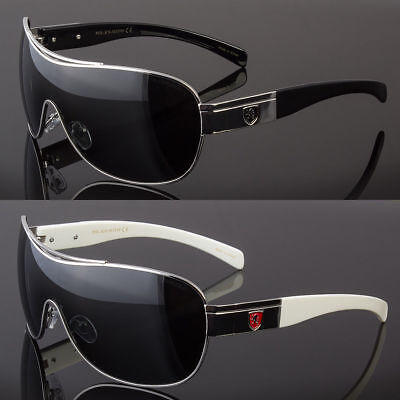 POLARIZED Retro Shield LARGE Men Fashion Metal Aviator Designer Sunglasses (Designer Polarized Sunglasses)