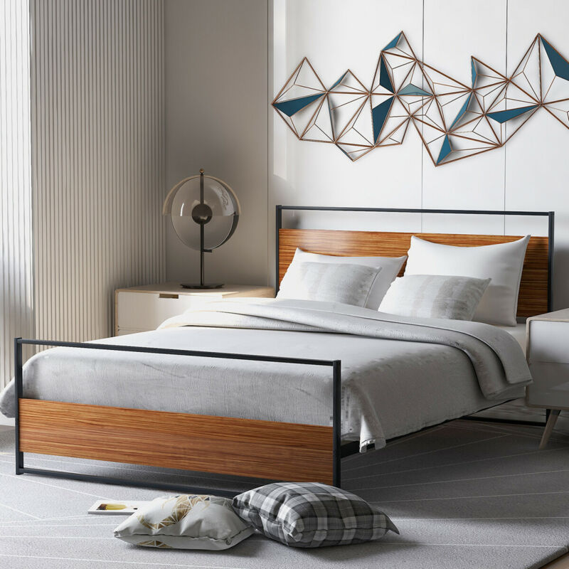Metal +Wood Full Size Platform Bed Frame W/Headboard Footboard&Wood Slat support