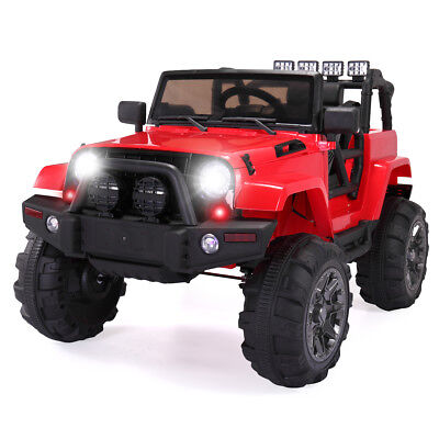 12V Kids Ride On Car  Jeep Racing Battery Power Wheels Electric Music Light Red