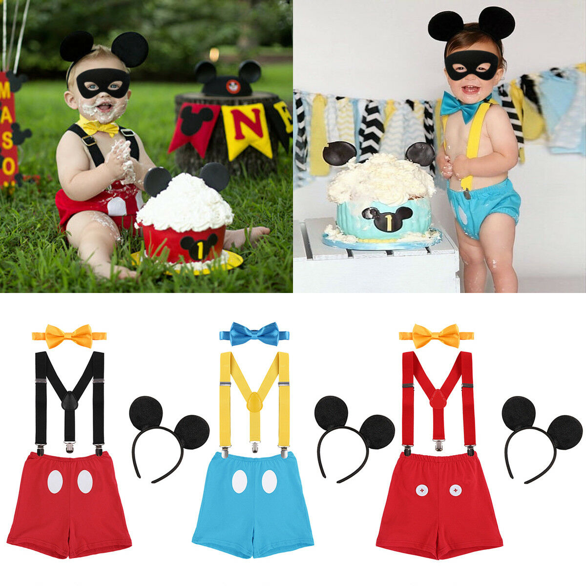 Baby Boy 1st Birthday Cake Smash Outfits Party Suspenders Diaper Nappy Cover Bow Tie Mouse Headband 4pcs Clothes Set