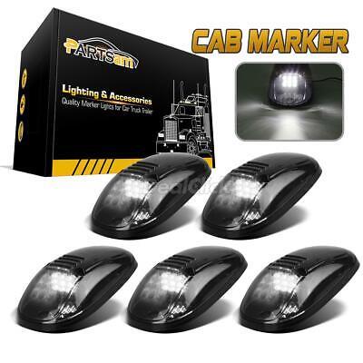 5) Smoke/White 9 LED 264145BK Cab Roof Running Marker Lights for Dodge Ram 99-02