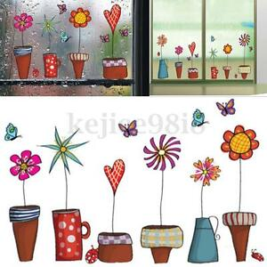 Waterproof Cartoon Flower Butterfly Sticker Window Nursery Decal Kids Room Decor