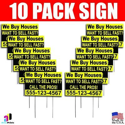 10x We Buy Houses Want To Sell Fast Yard Signs Your Phone Number Real Estate
