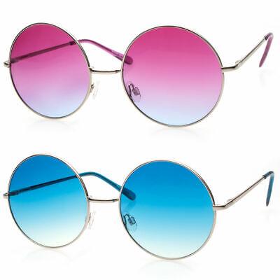Large Oversized Big Round Metal Frame Color Lens Round Circle Eye Glasses (Eye Color Lens)