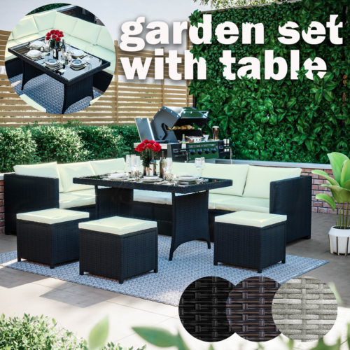 Garden Furniture - 9 Seater Rattan Garden Furniture Set Cuber Corner Sofa Table Stool Outdoor Patio