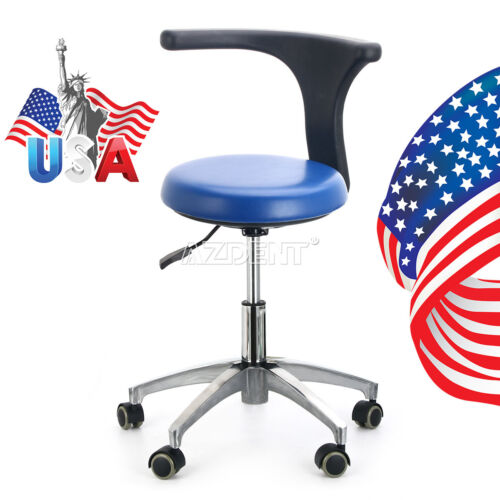 USA Dental Medical Doctor Assistant Stool Adjustable Height Mobile Chair PU Blue