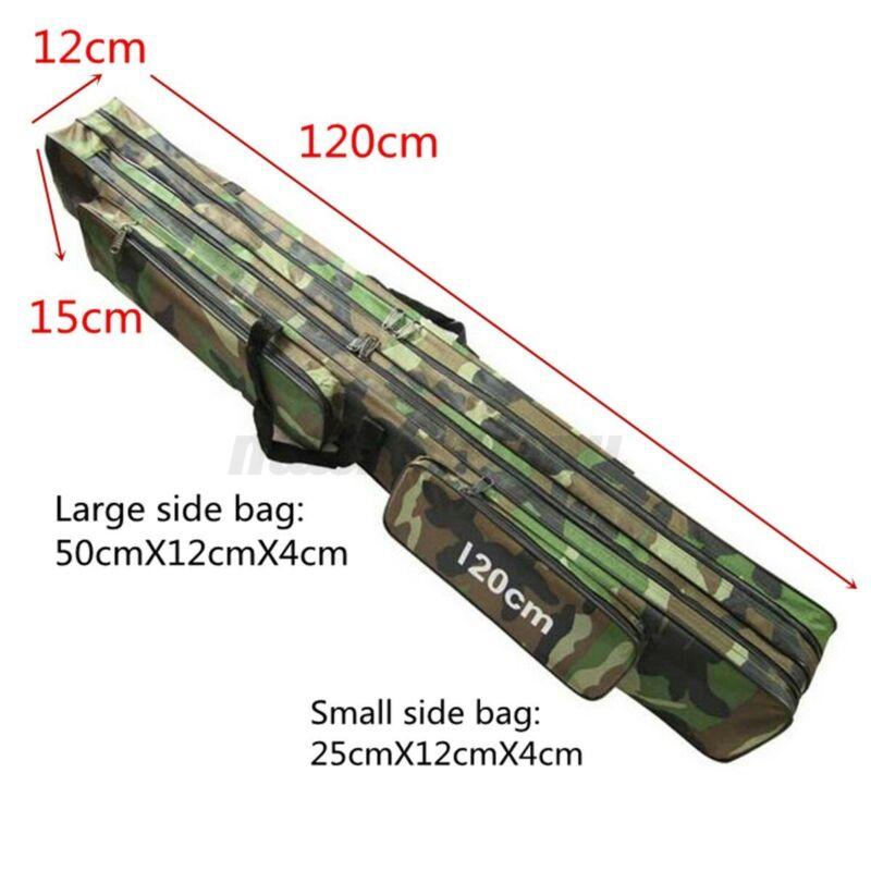 3Layer Folding Fishing Rod Reel Bag Pole Carry Case Carrier Travel Organizer Box