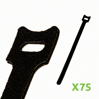 10 Inch Hook And Loop Reusable Strap Cable Cord Wire Ties 75 Pack Black