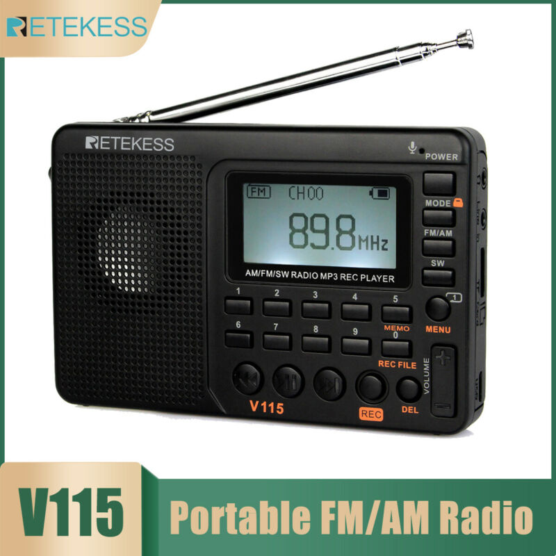 V115 Portable FM/AM/SW Radio Digital Rechargeable World Band MP3 Player Recorder