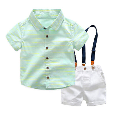 (2pcs Toddler Kids Baby Boys Clothes Gentleman Shirt+Bib Pants Shorts Outfits Set)