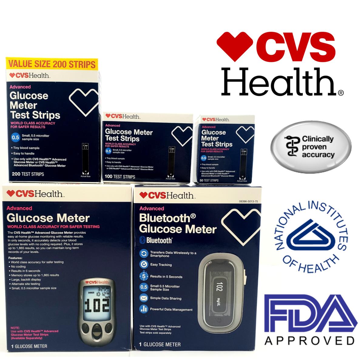 CVS Health Advanced Glucose Meter Test Strips 50-100-200CT D