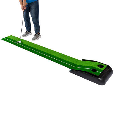 8FT Golf Practice Putting Mat Training Green Grass Turf Ball Return In/Outdoor - Green Grass Mats