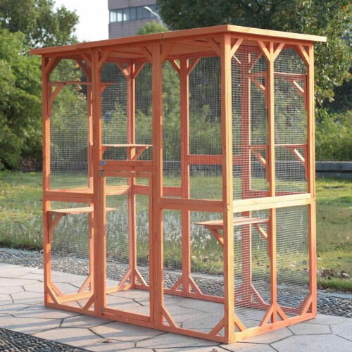 Large Wood Outdoor Cat Enclosure Animal Catio Cage Run House with 6 Platforms