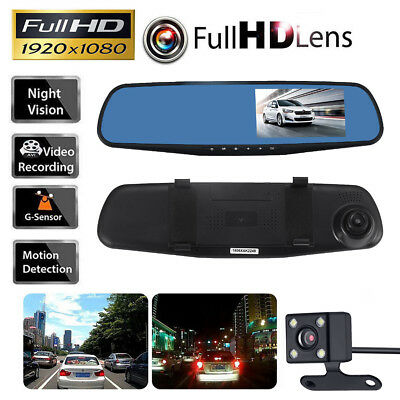 1080P Car DVR Rearview Dual Dash Cam Camera Vehicle Front Rear HD Video Recorder