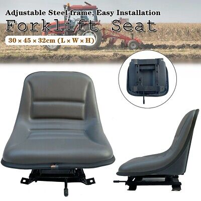 Universal Tractor Seat With Backrest Black Slidable Pvc Lawn Mower Forklift Seat