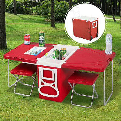 New Multi Function Rolling Cooler Picnic Camping Outdoor W  Table   2 Chairs Red