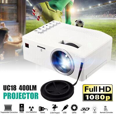 Portable 1080P HD Mini LED Projector 3D Home Theater Cinema Video HDMI USB AV SD