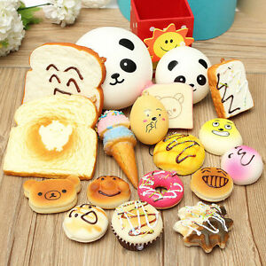 18PCS Random Kawaii Squishy Soft Bread Keychain Charm Strap Panda Toasts Donuts