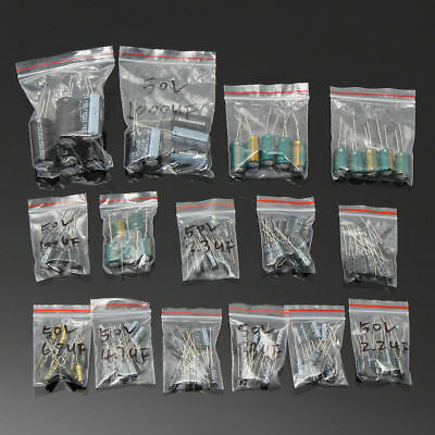 120pcs 50v 15 Values 1uf-2200uf Assorted Electrolytic Capacitor Assortment Kit