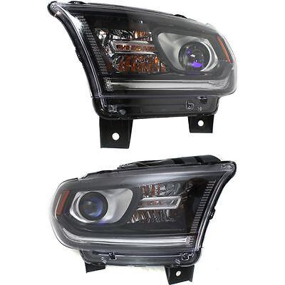 DODGE DURANGO 2014 2015 BLACK HEADLIGHTS HEAD LAMPS LIGHTS W/O LED - SET