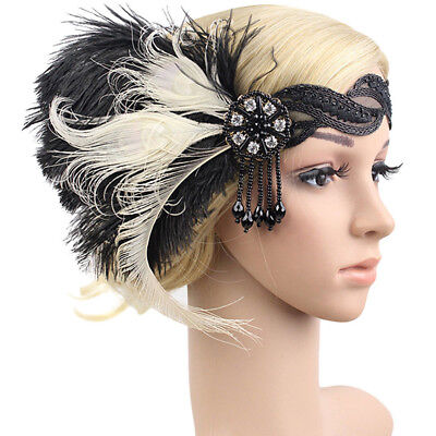 1920s Feather Headband Bridal 20's Great Gatsby Flapper Costume Dress Headpiece ](Black Gatsby Headband)