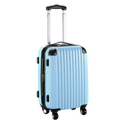 "GLOBALWAY 20"" Expandable ABS Carry On Luggage Travel Bag Suitcase Light Blue"