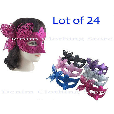 24 Glitter Butterfly Masquerade Mask Costume Bachlor Bridal Party Wholesale Lot - Masquerade Masks Wholesale