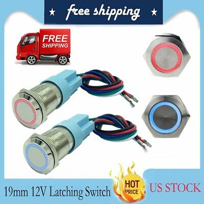 19mm Metal Annular Push Button Switch Ring Led Light Latching Waterproof