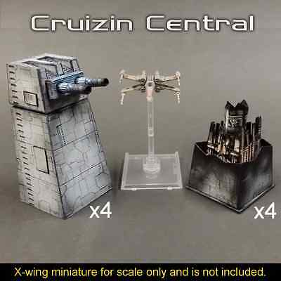 4x Turbo Laser Turret w/ magnet for Star Wars X wing miniatures papercraft card