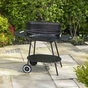 OVAL TROLLEY BBQ BARBECUE STEEL OUTDOOR GRILL GARDEN PATIO WHEELS CHARCOAL BLACK