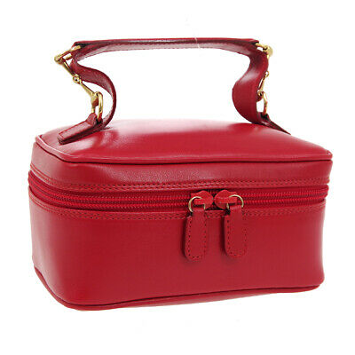 GUCCI Horsebit Cosmetic Vanity Hand Bag Red Leather Vintage Italy Auth AK40984