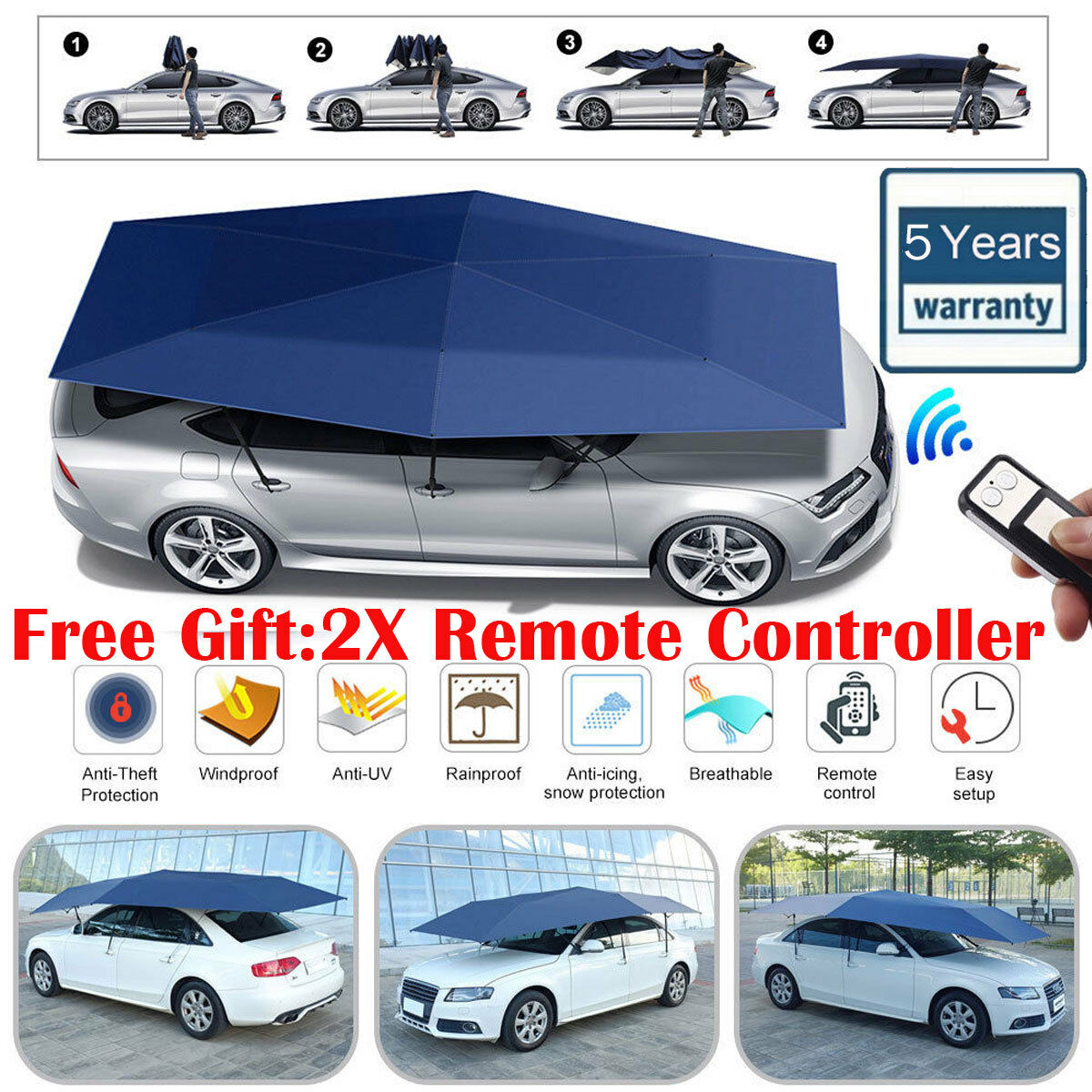 Fully Automatic Portable Anti Uv Protection Car Umbrella Tent Roof