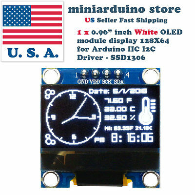 0.96 I2c Iic 128x64 Led Oled Lcd Display Module Arduino White Color Ssd1306 Us