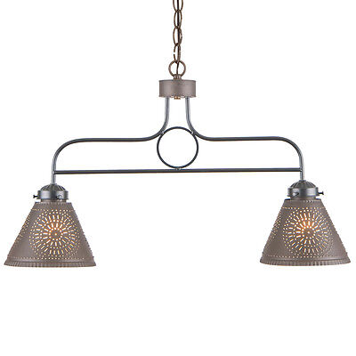 (WROUGHT IRON BAR LIGHT PUNCHED TIN SHADES Rustic Country Island Kitchen )