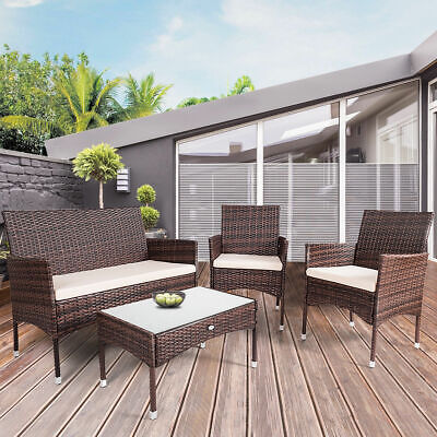 4PC Rattan Patio Furniture Set Glass Top Table Cushioned Seat Outdoor Sofa Brown