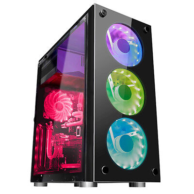 ATX Mid Tower Computer Gaming PC Case 4 Fan Ports, Fan Speed Control, USB 3.0