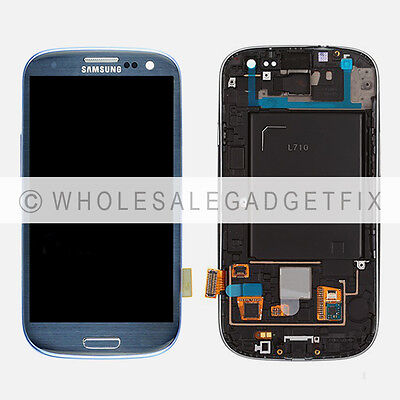 Blue Samsung Galaxy S3 L710 LCD Display Touch Screen Digitizer + Frame Assembly