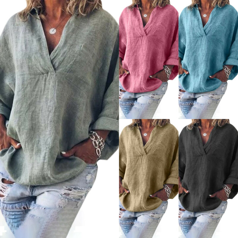 Women Plain Cotton Linen Blouse Tops Loose Baggy Casual Tunic Shirt Plus Size Clothing, Shoes & Accessories