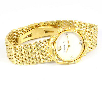 Authentic Carrera y Carrera Quartz Wristwatch 18KYG Diamond Shell Adam Eve D1357