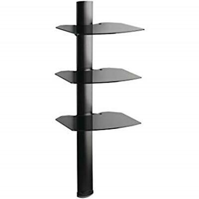 TRIA Series 3-Shelf Omnimount Cable Management Glass Wall Shelf Black NEW -