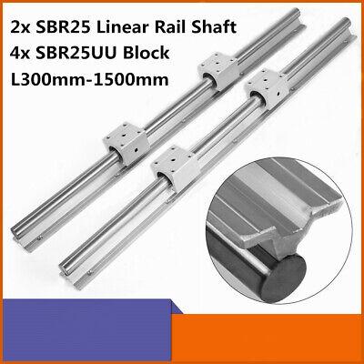 2x Sbr25 L300-1500mm 25mm Linear Slide Guide Shaft Rail4x Sbr25uu Bearing Block