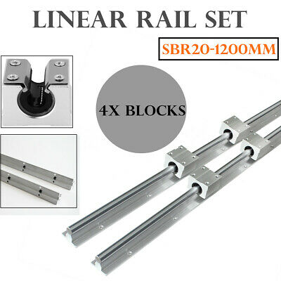 2x Sbr20-1200mm 20mm Linear Slide Guide Shaft 4x Sbr20uu Bearing Block For Cnc