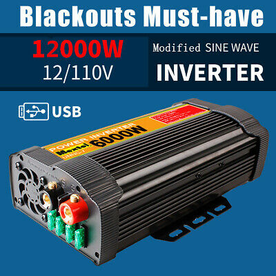 6000W 12000W Peak Car Solar Power Inverter DC 12V to AC 110V Sine Wave Converter