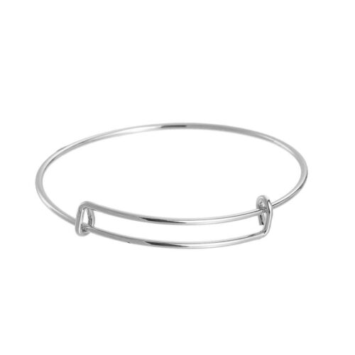 "10 Silver Bangle Charm Bracelet, adjustable expands to fit 8.5"", 14ga, fin0608"