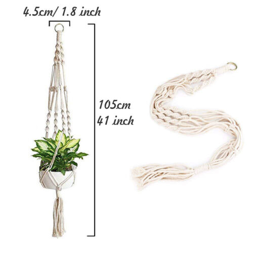 Cotton Rope Hanging Planters,41\u201d Plant Hangers with White Rope Pack-4 Hanging Plant Holders Pack of 4 Macrame Plant Hangers