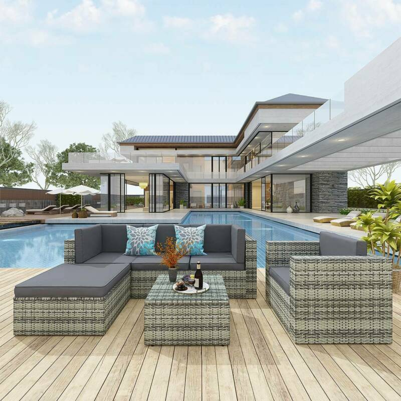 YITAHOME 6Pcs Patio Furniture Set Sectional Sofa Cushion Cou