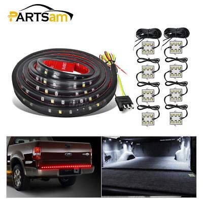 "8pcs Pickup Truck Bed White LED Light Kit+Universal 60"" Red/White Rear Light Bar"
